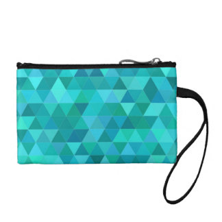 Teal triangle pattern coin purse
