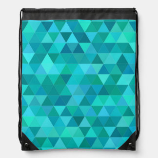 Teal triangle pattern drawstring bag