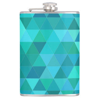 Teal triangle pattern hip flask