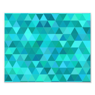 Teal triangle pattern photo print