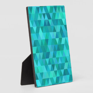 Teal triangle pattern plaque