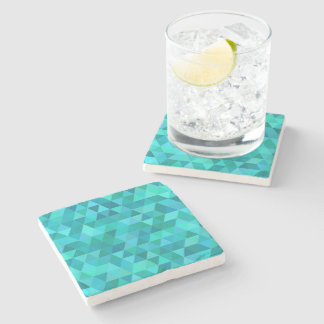 Teal triangle pattern stone coaster