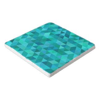 Teal triangle pattern trivet