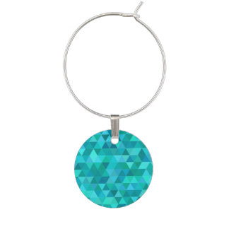 Teal triangle pattern wine charm