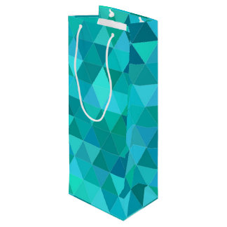 Teal triangle pattern wine gift bag