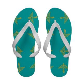 Teal Tribal Bird Flip Flops