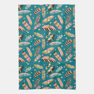 Teal Tribal Feather Pattern Tea Towel
