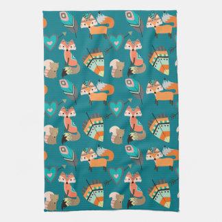 Teal Tribal Fox Pattern Tea Towel