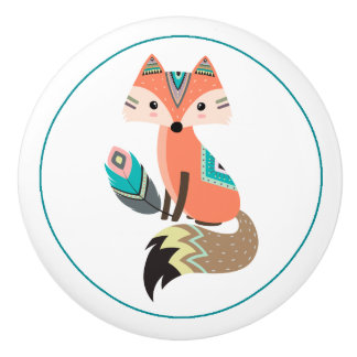 Teal Tribal Fox with Feather Ceramic Knob