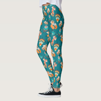 Teal Tribal Foxes Leggings