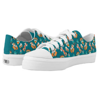 Teal Tribal Foxes Low Tops