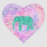 Teal Tribal Paisley Elephant Purple Henna Pattern Heart Stickers