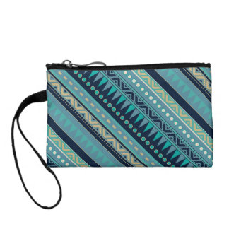 Teal tribal print wristlet purse