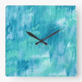 Teal Turquoise Abstract Square Wall Clock