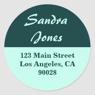 teal turquoise address label round sticker