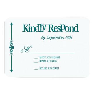 Teal Turquoise Aqua Typography Wedding RSVP Cards 9 Cm X 13 Cm Invitation Card