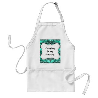 Teal Turquoise Blue and Black Lace Damask Pattern Standard Apron