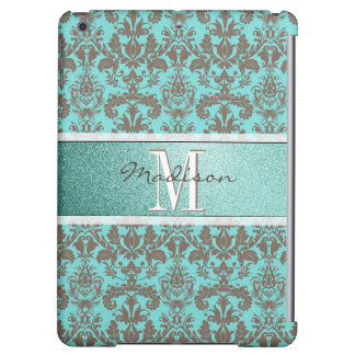Teal Turquoise blue & Brown Damask,  Personalised