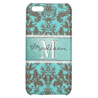 Teal Turquoise blue & Brown Damask,  Personalised Case For iPhone 5C