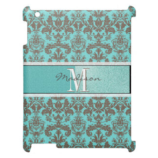 Teal Turquoise blue & Brown Damask,  Personalised Case For The iPad