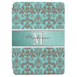 Teal Turquoise blue & Brown Damask,  Personalised iPad Air Cover