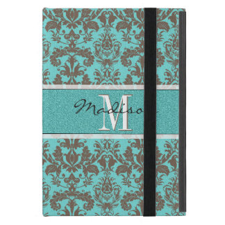 Teal Turquoise blue & Brown Damask,  Personalised iPad Mini Cover
