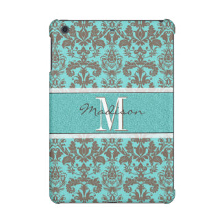 Teal Turquoise blue & Brown Damask,  Personalised iPad Mini Retina Cover