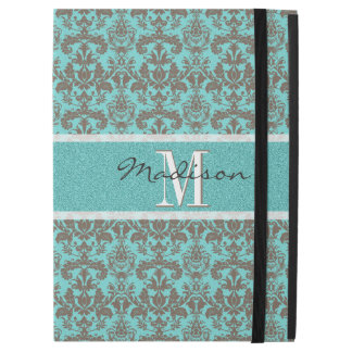 "Teal Turquoise blue & Brown Damask,  Personalised iPad Pro 12.9"" Case"