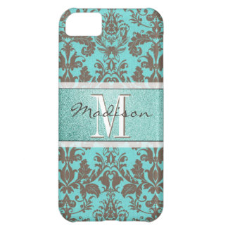 Teal Turquoise blue & Brown Damask,  Personalised iPhone 5C Case