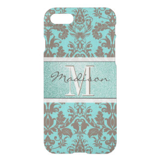 Teal Turquoise blue & Brown Damask,  Personalised iPhone 8/7 Case