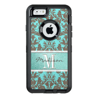 Teal Turquoise blue & Brown Damask,  Personalised OtterBox Defender iPhone Case