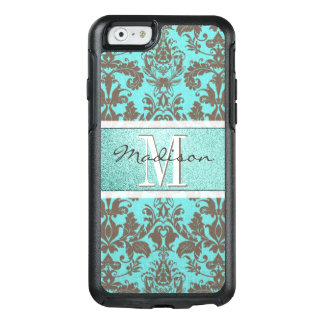 Teal Turquoise blue & Brown Damask,  Personalised OtterBox iPhone 6/6s Case