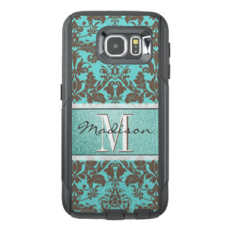 Teal Turquoise blue & Brown Damask,  Personalised OtterBox Samsung Galaxy S6 Case