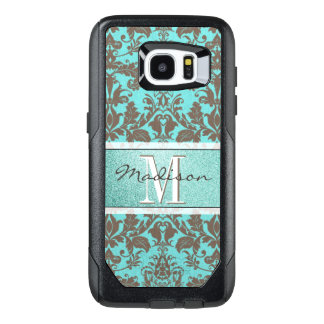 Teal Turquoise blue & Brown Damask,  Personalised OtterBox Samsung Galaxy S7 Edge Case