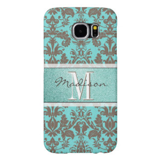 Teal Turquoise blue & Brown Damask,  Personalised Samsung Galaxy S6 Cases