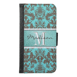 Teal Turquoise blue & Brown Damask,  Personalised Samsung Galaxy S6 Wallet Case
