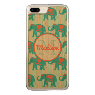 Teal turquoise, blue Elephants, blue stripes name Carved iPhone 8 Plus/7 Plus Case
