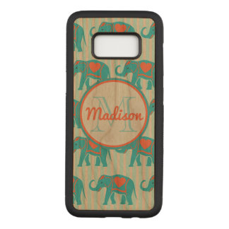 Teal turquoise, blue Elephants, blue stripes name Carved Samsung Galaxy S8 Case