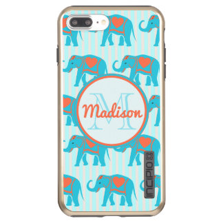 Teal turquoise, blue Elephants, blue stripes name Incipio DualPro Shine iPhone 8 Plus/7 Plus Case