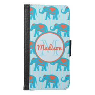 Teal turquoise, blue Elephants, blue stripes name Samsung Galaxy S6 Wallet Case