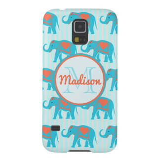 Teal turquoise, blue Elephants on blue stripe name Galaxy S5 Cover
