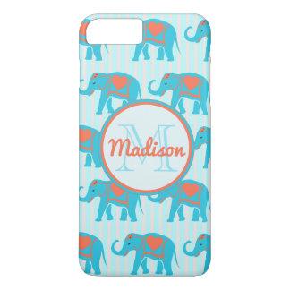 Teal turquoise, blue Elephants on blue stripe name iPhone 8 Plus/7 Plus Case
