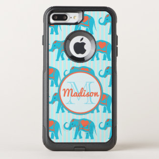 Teal turquoise, blue Elephants on blue stripe name OtterBox Commuter iPhone 7 Plus Case