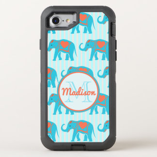 Teal turquoise, blue Elephants on blue stripe name OtterBox Defender iPhone 8/7 Case