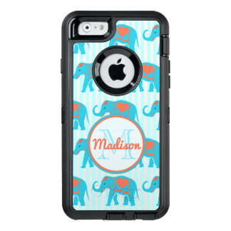 Teal turquoise, blue Elephants on blue stripe name OtterBox Defender iPhone Case