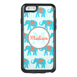 Teal turquoise, blue Elephants on blue stripe name OtterBox iPhone 6/6s Case