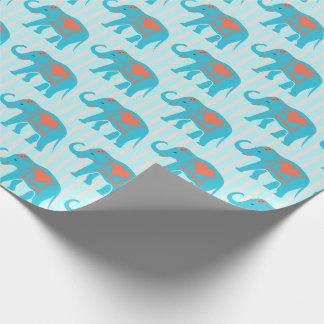 Teal turquoise, blue Elephants, on blue stripes