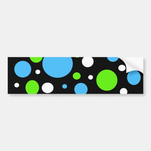 Teal Turquoise Blue Lime Green Stripes Polka Dots Bumper Stickers