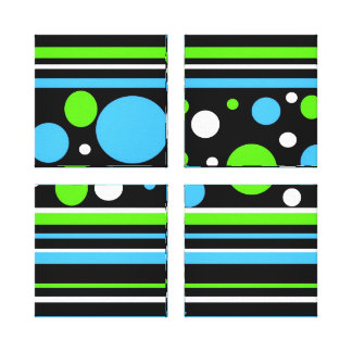 Teal Turquoise Blue Lime Green Stripes Polka Dots Gallery Wrap Canvas