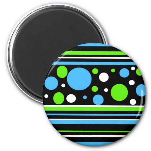 Teal Turquoise Blue Lime Green Stripes Polka Dots Refrigerator Magnets